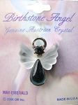 Emerald May Birthstone Angel Pin, Genuine Austrian Crystals
