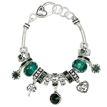 Emerald May Birthstone Charm Bracelet Murano Beads, Pandora Style Inspired