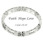 Faith Hope Love Bracelet, 1 Cor 13:13 Inspirational Message Silver