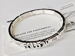 Follow Footprints Inspirational Message Bracelet, Sliver Stretch
