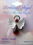 Garnet January Birthstone Angel Pin, Genuine Austrian Crystals