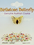 Garnet-January Birthstone Butterfly Pin Gold Tone, Genuine Austrian Crystal