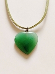 Genuine Green Jade Heart Pendant Summer Beach Necklace