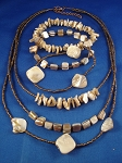 Genuine Mother-of-Pearl Sea Shells Necklace Bracelets Three Layers, Bronze Beads