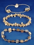 Genuine Mother-of-Pearl Sea Shells Three Stack Bracelets, Beige Beads