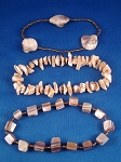 Genuine Mother-of-Pearl Sea Shells Three Stack Bracelets, Bronze Beads