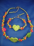 Girls Green Hearts Summer Necklace Bracelet, Non-Allergic Jewelry