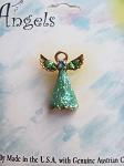 Green Peridot Guardian Angel Pin, Genuine Austrian Crystals, Gold Tone