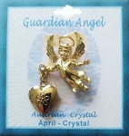 Heart Locket Gold Guardian Angel Pin April Birthstone-Crystal, Genuine Austrian Crystal