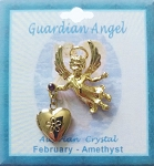 Heart Locket Gold Guardian Angel Pin February Birthstone-Amethyst, Genuine Austrian Crystal