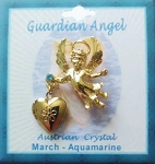 Heart Locket Gold Guardian Angel Pin March Birthstone-Aquamarine, Genuine Austrian Crystal