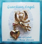 Heart Locket Gold Guardian Angel Pin October Birthstone-Rose Zircon, Genuine Austrian Crystal