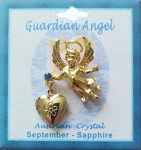 Heart Locket Gold Guardian Angel Pin September Birthstone-Sapphire, Genuine Austrian Crystal