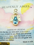 Heavenly Angel Aquamarine March Birthstone Pin Vintage Style, Genuine Austrian Crystal