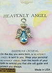 Heavenly Angel Blue Zircon December Birthstone Pin Vintage Style, Genuine Austrian Crystal
