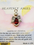 Heavenly Angel Garnet January Birthstone Pin Vintage Style, Genuine Austrian Crystal