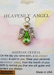 Heavenly Angel Peridot August Birthstone Pin Vintage Style, Genuine Austrian Crystal