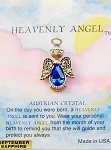 Heavenly Angel Sapphire September Birthstone Pin Vintage Style, Genuine Austrian Crystal