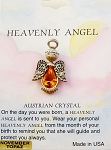 Heavenly Angel Topaz November Birthstone Pin Vintage Style, Genuine Austrian Crystal
