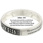 John 3:16 Bracelet Inspirational Message, Silver