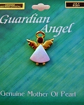 Ruby-July Birthstone Guardian Angel Pin, Genuine Mother-of-Pearl & Austrian Crystal