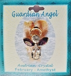Large Amethyst February Birthstone Guardian Angel Pin, Genuine Austrian Crystals