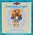 Large Blue Zircon December Birthstone Guardian Angel Pin, Genuine Austrian Crystals