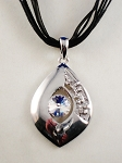 Large Crystal Chrome Pendant Necklace, Summer Fashion Contemporary