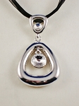 Large Crystal Chrome Triangle Pendant Necklace, Summer Fashion Contemporary