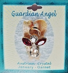 Large Garnet January Birthstone Guardian Angel Pin, Genuine Austrian Crystals