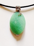 Mineral Green Jade Genuine Stone Bent Oval Pendant Necklace