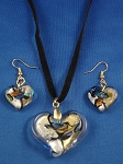 Mixed Summer Colors Heart Pendant Necklace Earrings Stained Glass