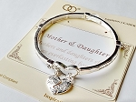 Mother & Daughter Heart Charm Bracelet Inspirational Message, Sliver Stretch