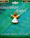 Topaz-November Birthstone Guardian Angel Pin, Genuine Mother-of-Pearl & Austrian Crystal
