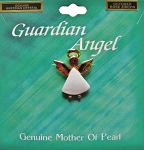 Rose Zircon-October Birthstone Guardian Angel Pin, Genuine Mother-of-Pearl & Austrian Crystal