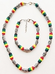 Palm Beach Multicolor Men's Necklace Bracelet Beaded, Surfer Style Choker