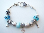Pandora Inspired Faith Hope Love Charm Bead Bracelet, Fish Heart Vintage Style