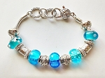 Pandora Inspired Turquoise Blue Murano Glass Bead Bracelet Vintage Style