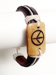 Peace Men`s Tribal Bracelet Brown Mystic Symbol Thick Genuine Leather Beach Surfer Style