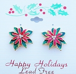 Poinsettia Flower Christmas Clip-on Earrings, Austrian Crystals