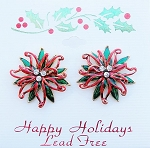 Poinsettia Flower Christmas Post Earrings, Austrian Crystals