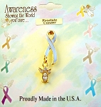 Prostate Cancer Awareness Sky Blue Ribbon Angel Charm Pin, Clear Diamond Genuine Austrian Crystals