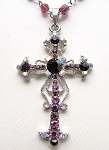 Purple Amethyst Vintage Cross Pendant Necklace Filigree Style, Genuine Austrian Crystals