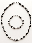 Salem Beach Beaded Necklace Bracelet, Men's Surfer Style Jewelry Black