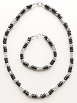 Samur Beach Beaded Necklace Bracelet, Men's Surfer Style Jewelry Black