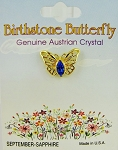 Sapphire-September Birthstone Butterfly Pin Gold Tone, Genuine Austrian Crystal