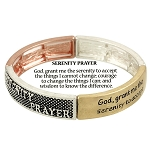 Serenity Prayer Bracelet Inspirational Message, Three-tone