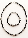 Sezam Beach Beaded Necklace Bracelet, Men's Surfer Style Jewelry Black