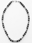 South Beach Men's Necklace Beaded Two-tone Chrome Black, Surfer Style Choker