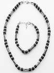 South Beach Men's Necklace Bracelet Beaded Two-tone Chrome Black, Surfer Style Choker